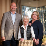 Marge Schueck (center) and her children, Patrick Schueck and Jennifer Schueck McCarty. The family is passionate about UAMS achieving NCI Designation and sees their gift as having an immediate impact toward reaching that goal.