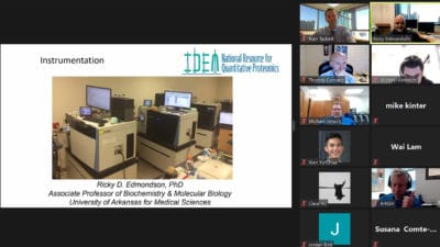 The fifth annual Proteomics Facility Staff Symposium on Feb. 2, held virtually by UAMS, brought together 36 proteomics core directors and staff members from IDeA (Institutional Development Award) states and Puerto Rico to learn more about operating and maintaining these facilities at their institutions.