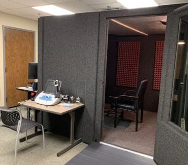 A sound booth has been installed in the Speech and Hearing Clinic's new location in Education Building South.