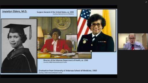 Tim Nutt, director of the UAMS Historical Research Center, discusses Joycelyn Elders, M.D., among numerous African American contributors to the history of health care in Arkansas.