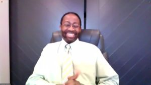 Christian Simmons, M.D., Ph.D., participating in the online panel discussion of the documentary Black Men in White Coats.