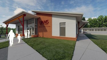 A concept image of what the front of the child development center will look like once completed.