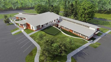 An overhead view of the planned UAMS child development center expected to open in fall 2022.