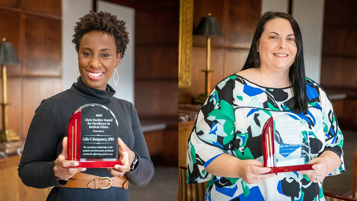 Collin Montgomery, APRN and Leigh Ann Wilson the Adult Sickle Cell Disease Clinical Program at the University of Arkansas for Medical Sciences (UAMS) recently received the 2020 Chris Hackler Award for Excellence in Medical Ethics.