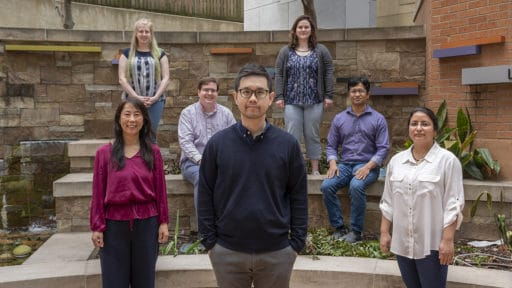 Justin Leung, Ph.D., (front and center with his team), a researcher with the Winthrop P. Rockefeller Cancer Institute, has been awarded a $1.47 million National Cancer Institute grant to study DNA.