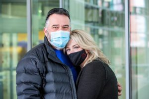Myeloma patient Christie Mink of Jonesboro returned from a lunch break with husband Jeffery to find one sweet treat awaiting her just outside the doors of the Winthrop P. Rockefeller Cancer Institute.