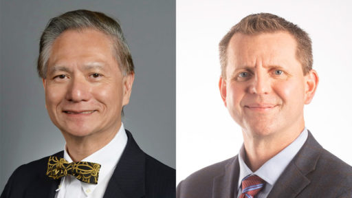 Edward T.H. Yeh, M.D., (left) and Alan Tackett, Ph.D., have been honored by the Arkansas Research Alliance (ARA). The group named Yeh an ARA Scholar and Tackett an ARA Fellow.