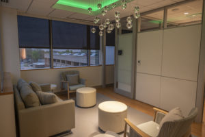 The new UAMS Breast Center boasts a waiting area with natural light.