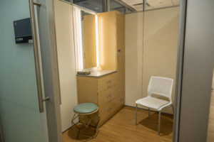 The UAMS Breast Center boasts large dressing rooms.