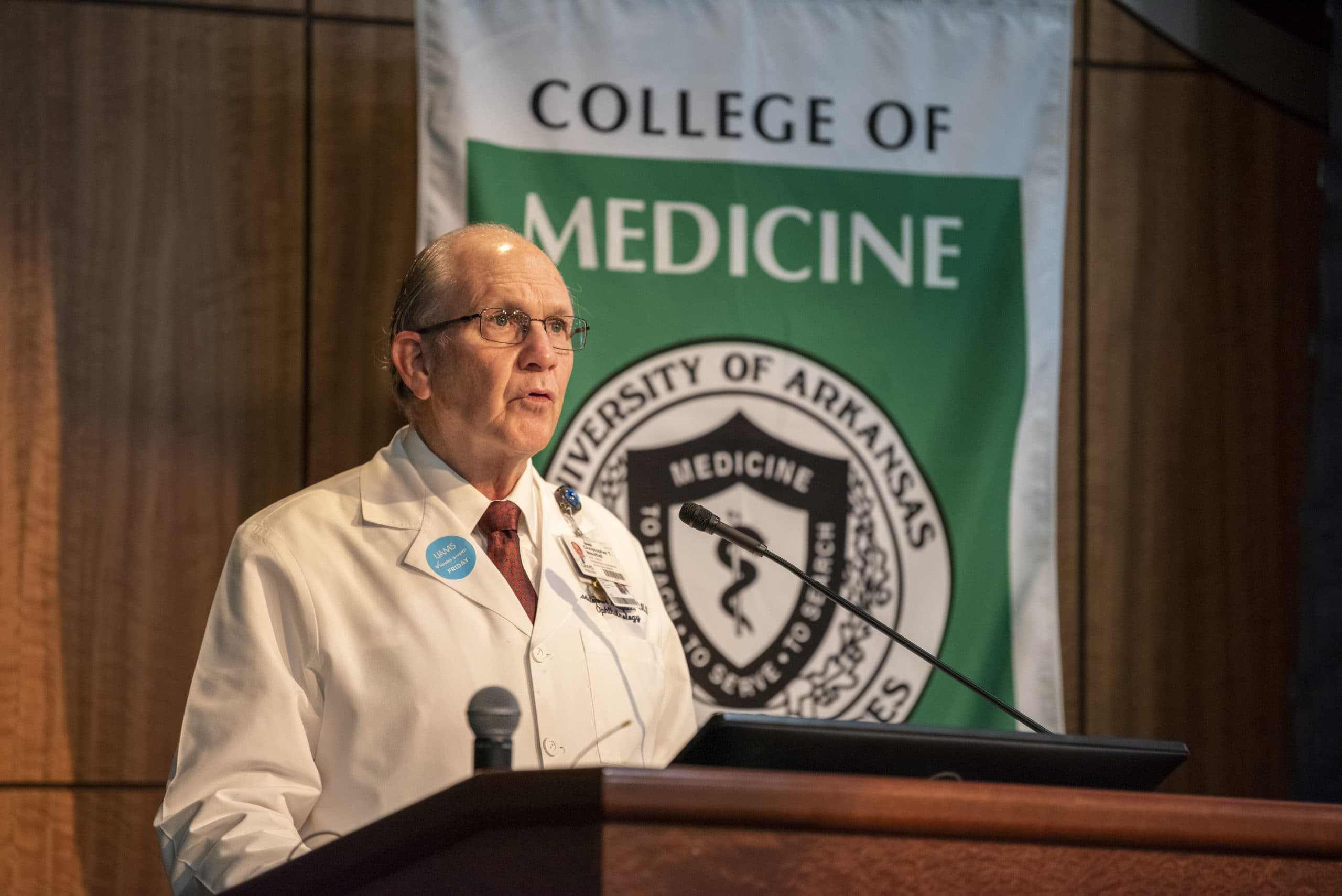 Christopher T. Westfall, M.D., dean of the UAMS College of Medicine, speaks at the 2020 white coat ceremony.