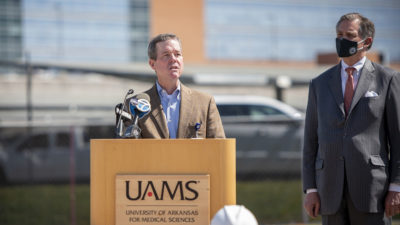 Chancellor Cam Patterson speaks before the groundbreaking ceremony for the new UAMS Surgical Hospital.