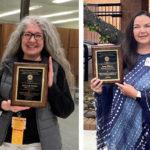 Deborah Taylor, left, and Lynn Ellison display their 2021 Staff Excellence Awards.