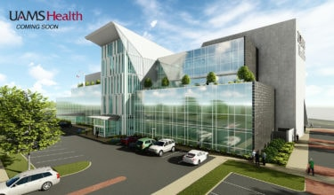 UAMS broke ground April 12 for the construction of a new UAMS Surgical Hospital, shown here in this concept art of how it will look once completed.