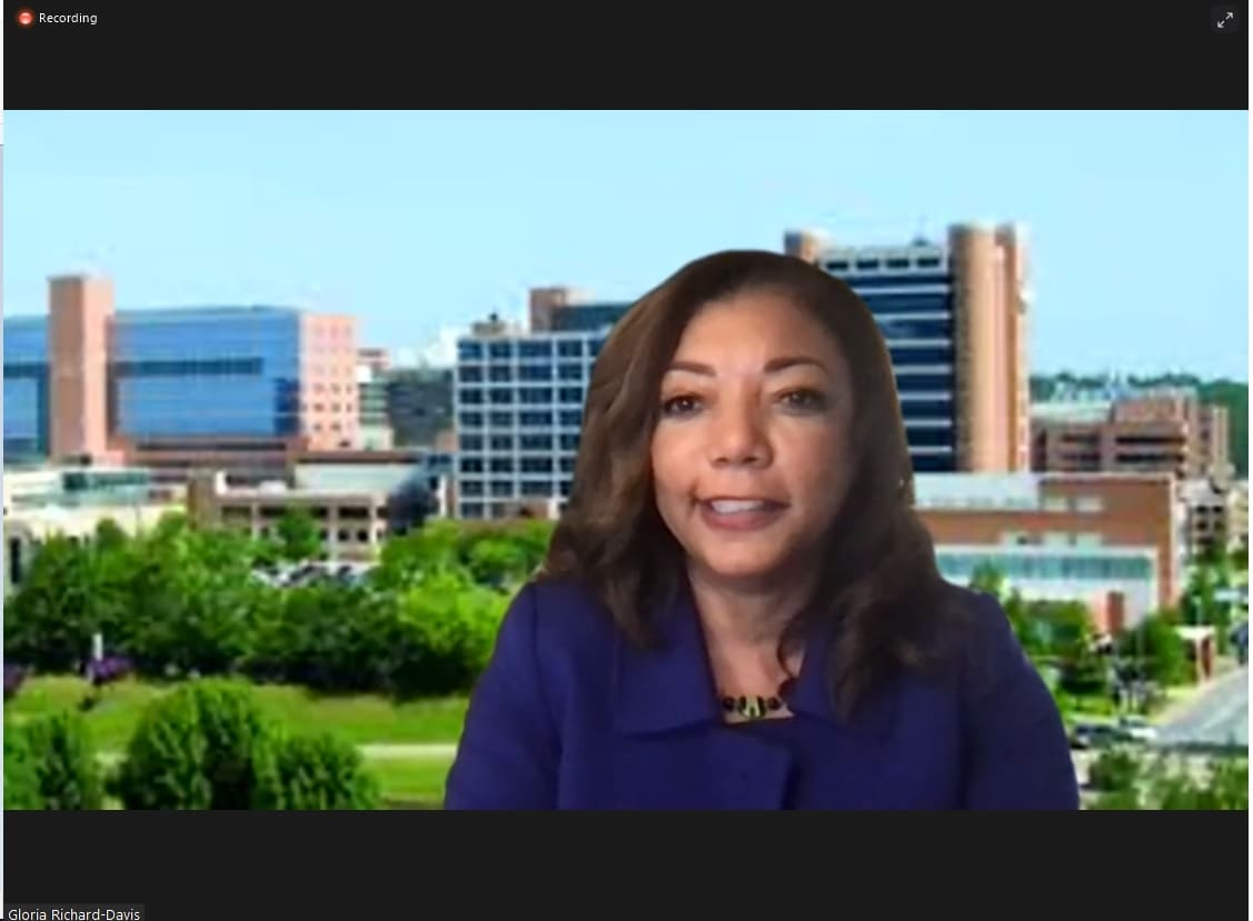 Gloria Richard-Davis, M.D., MBA, executive director for the Division of Diversity, Equity and Inclusion, concludes the virtual event celebrating Women's History Month.