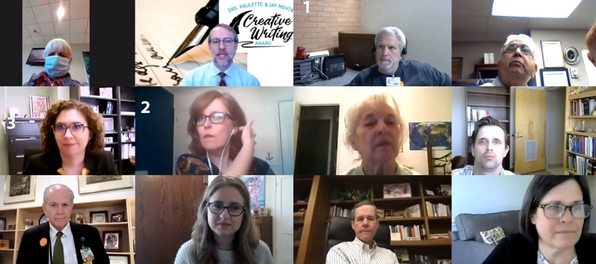 The participants in the April 1 presentation of the first annual Mehta Awards gathered on Zoom for the virtual ceremony. The winners photos are numbered: 1- Timothy Muren; 2- Susan Van Dusen and 3- Sara Shalin.