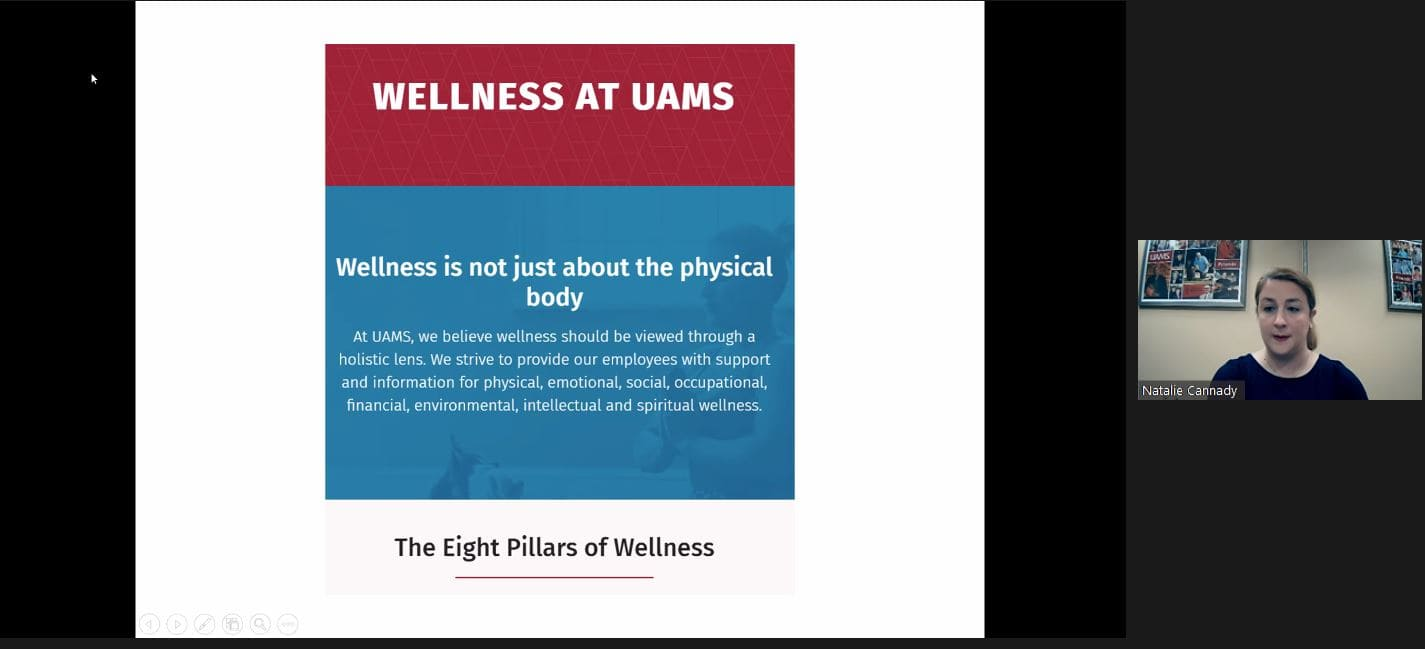 Natalie Cannady, chief wellness officer, explaining the pillars of wellness and program outreach.