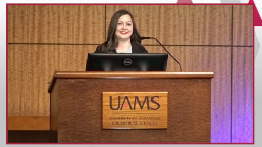 Assistant professor Megan Smith, Pharm.D., welcomes students to the virtual Postgraduate Match Day Ceremony on April 27.