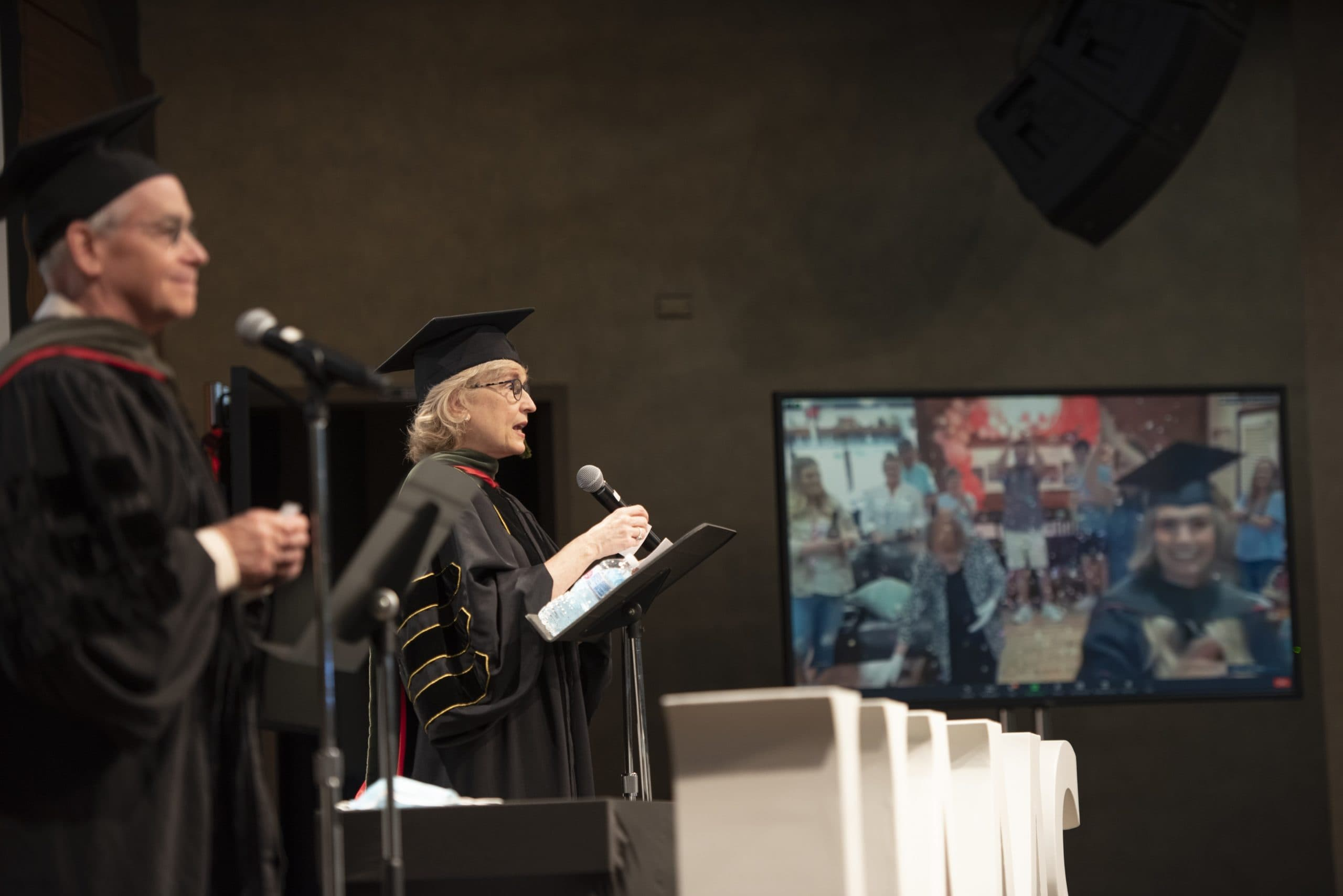 College of Pharmacy faculty present candidates for graduation as students attend remotely.