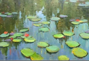 """""""Water Lilies"""" by Arden Boyce Art-Our Journey purchased by Stuart Cobb"""