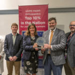 From left, C. Lowry Barnes, M.D., Jeffrey Stambough, M.D., Alicia Dreyer of Healthgrades, Ben Stronach, M.D., and Simon Mears, M.D., Ph.D., at the award presentation ranking UAMS among the top 10% of providers for joint replacement.