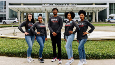 From left, Veronica Ussery, education director; Chandler Wilson, project manager; and techs Hunter Black, Raven Hinton and Veronica Lindsey.