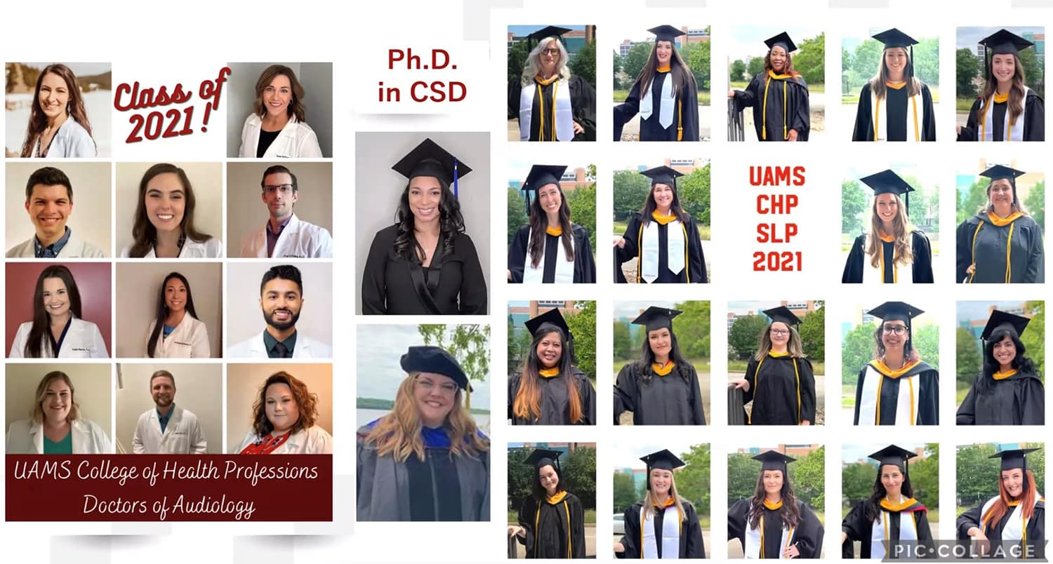 Photos of all the graduates of the Class of 2021 in audiology and speech-language pathology were on display in May during their virtual graduation.