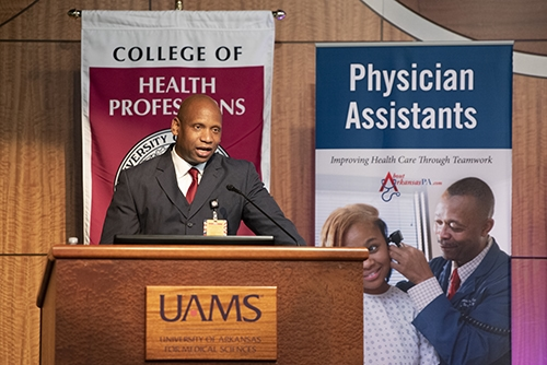 Edward Williams speaks to the Physician Assistant Class of 2023 before they take their professional oath.