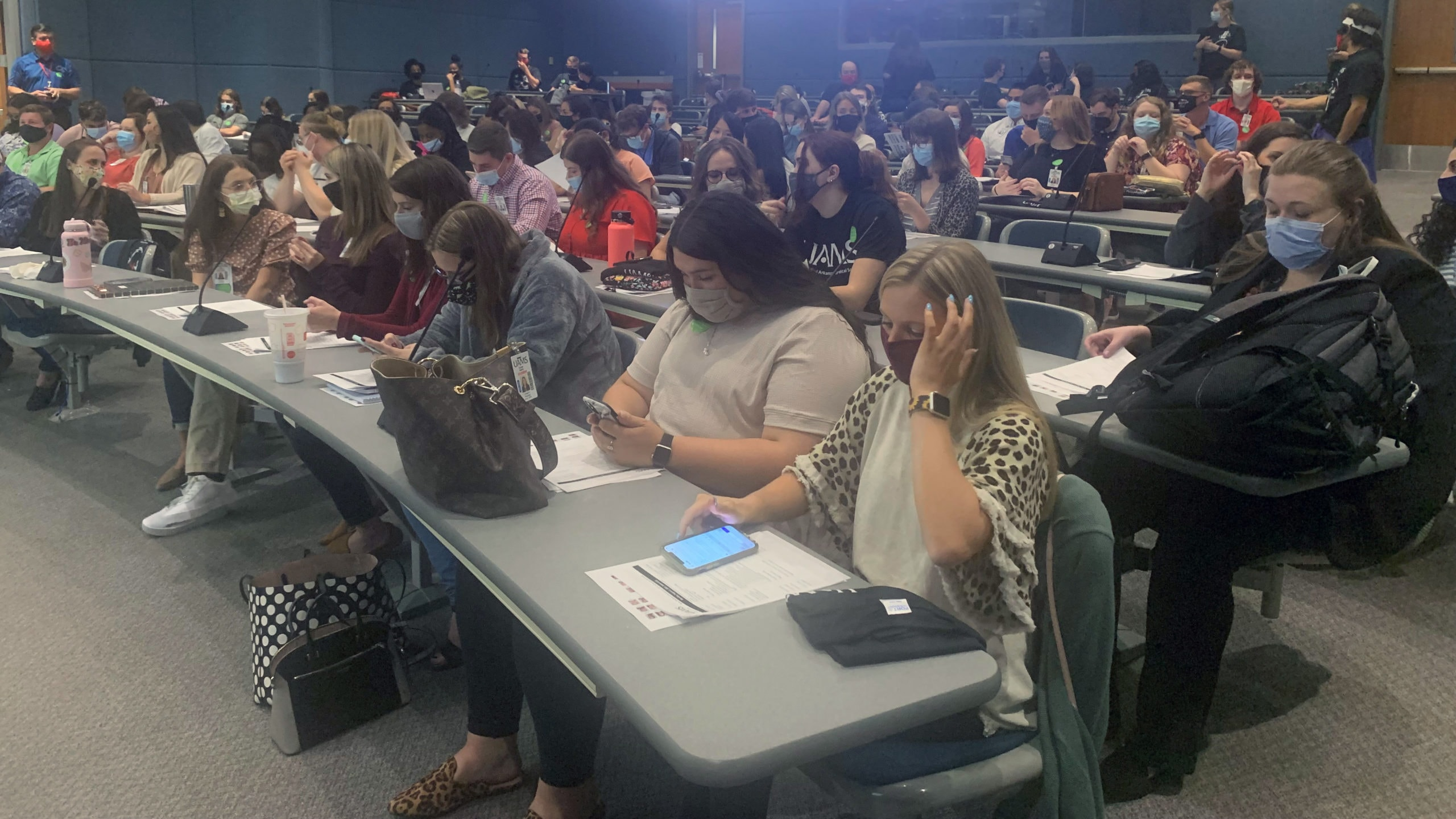 First-year students in the College of Pharmacy wait to begin their first day of orientation on Aug. 2, 2021.
