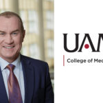 portrait of William Steinbach, M.D., and UAMS logo