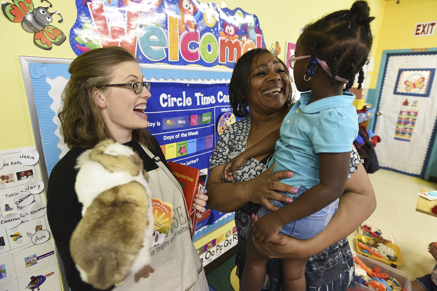 Taren Swindle, Ph.D., here visiting a Head Start classroom in 2019, is leading the NCI-funded study that aims to improve diets in early care and education settings.