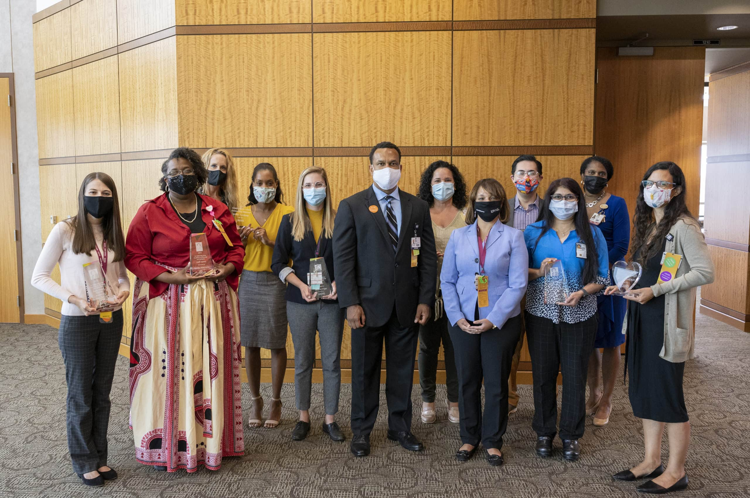 Vice Chancellor Brian Gittens, Ed.D., MPA, (center) pictured with UAMS Serves and Dr. Edith Irby Jones Diversity and Inclusion award recipients.