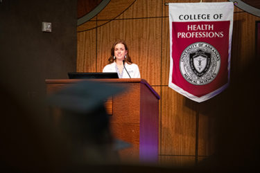 Keynote speaker Anne Brown addresses the audience at the Valediction Ceremony.