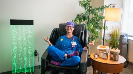 Sherri Youngblood, R.N., takes a break from the ICU.