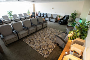 Rows of recliners await employees in need of relaxation