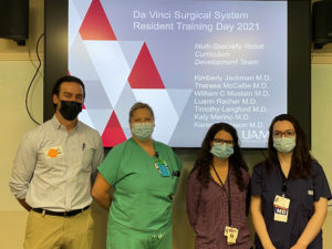 Faculty for the multispecialty robot training day included (from left) Conan Mustain, M.D., Luann Racher, M.D., Theresa McCallie, M.D., and Karen J. Dickinson, M.D. Not pictured are Kim Jackman, M.D., Timothy Langford, M.D., and Katy Marino, M.D.