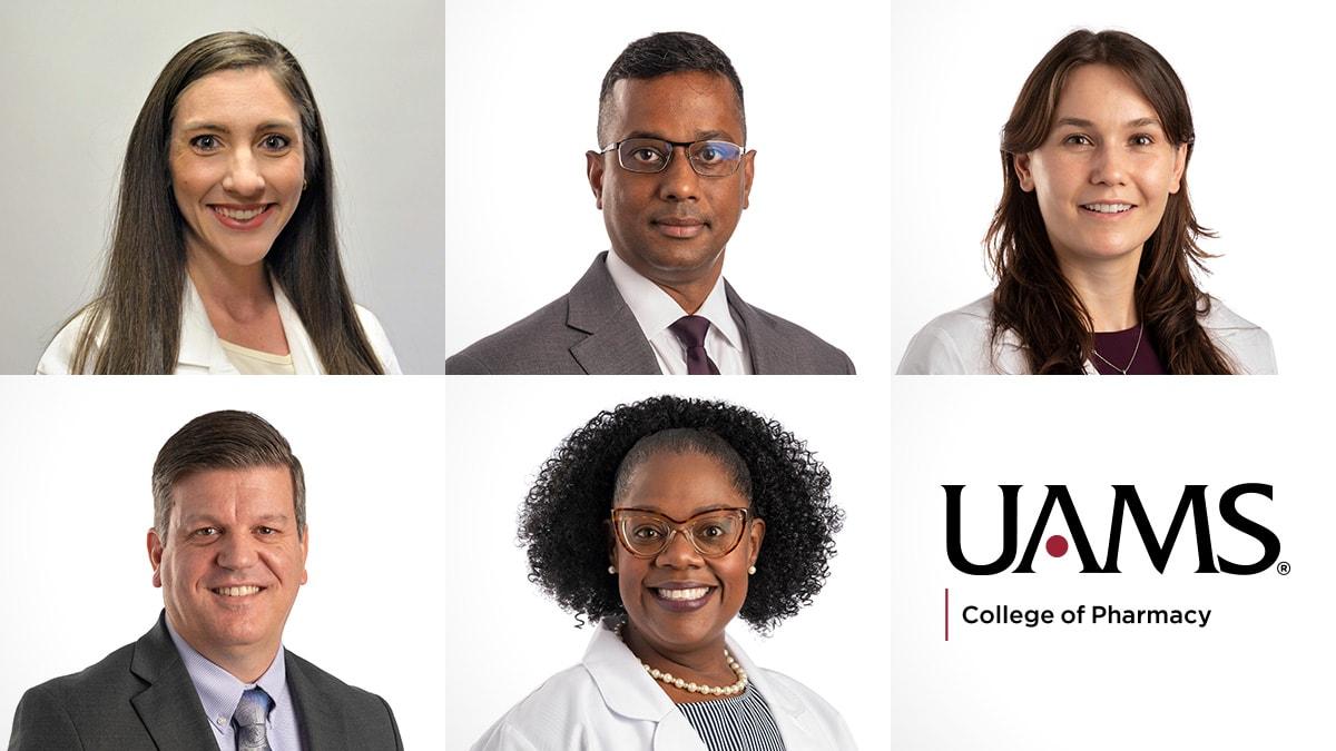 New College of Pharmacy faculty: Amy Robertson, Pharm.D., Ashok Philip, Ph.D., and Laura Gressler, Ph.D., M.S., Marty Perry, Ph.D., and Pilar Murphy, PharmD, MPH