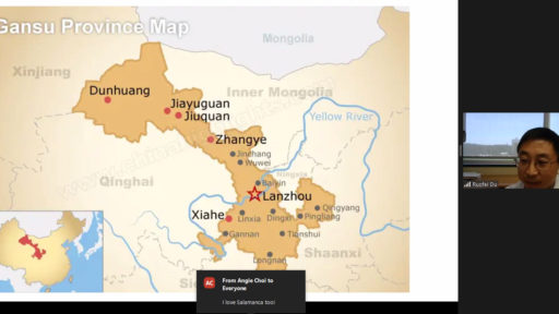 Ruofei Du, Ph.D., shows viewers a map of Gansu Province, where he grew up.