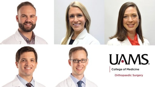 five portrait images of doctors in white coats and UAMS logo